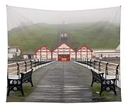 Misty View Of Victorian Pier  Redcar Tapestry