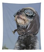 Mixed Breed Dog Dressed In Leather Cap Tapestry