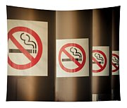 Mobile Photography Toned Row Of No Smoking Signs Tapestry