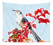 Mockingbird In The Leaves - Watercolor Tapestry