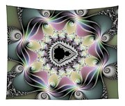 Modern Abstract Fractal Art Metallic Colors Square Format Tapestry