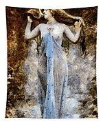Modern Vintage Lady In Blue Tapestry
