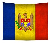 Moldova Flag Vintage Distressed Finish Tapestry