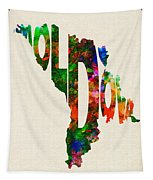 Moldova Typographic Watercolor Map Tapestry