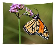 Monarch Butterfly On Vibernum Square Tapestry