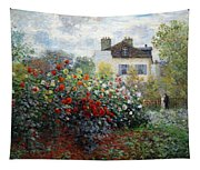 Monet's The Artist's Garden In Argenteuil  -- A Corner Of The Garden With Dahlias Tapestry