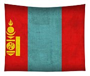 Mongolia Flag Vintage Distressed Finish Tapestry