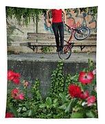 Monika Hinz Doing Elegant Bmx Flatland Trick Tapestry