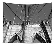 Monochromatic View Of Brooklyn Bridge Tapestry
