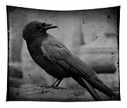 Monochrome Crow Tapestry