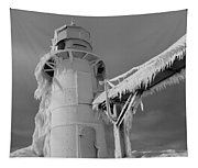 Monochrome Frozen Lighthouse Grand Haven Michigan Tapestry