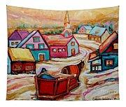 Mont St.hilaire Going Towards The Village Quebec Winter Landscape Paintings Carole Spandau Tapestry