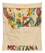 Montana Map Vintage Watercolor Tapestry