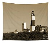 Montauk Point Light In Sepia Tapestry