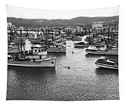Monterey Harbor Full Of Purse-seiner Fishing Boats California 1945 Tapestry