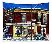 Montreal Art Hockey Paintings Chez Bert Depanneur The Pointe Verdun City Scene Carole Spandau  Tapestry