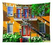 Montreal Art Seeing Red Verdun Wooden Doors And Fire Hydrant Triplex City Scene Carole Spandau Tapestry