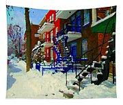 Montreal Art Streets Of Verdun Winter Scenes Winding Staircases Snowscenes Carole Spandau Tapestry