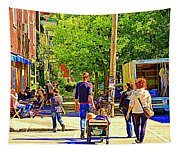 Montreal Art Summer Cafe Scene Rue Laurier Family Day Wagon Ride City Scene Art By Carole Spandau Tapestry
