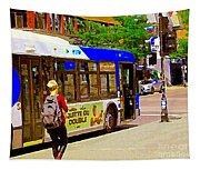 Montreal Bus Scenes Catching The 97 Bus Pontiac Corner Mont Royal Urban Montreal Art Carole Spandau Tapestry
