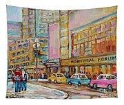 Montreal Forum Canadiens Hockey Landmark Vintage Scene Carole Spandau Tapestry