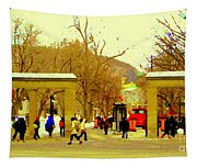 Montreal Memories Mcgill Students On Campus Roddick Gates Montreal Collectible Art Prints C Spandau Tapestry