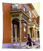 Montreal Memories Pretty Plateau Porches Lady Climbs Front Steps By Bricks Balconies Home Cspandau   Tapestry