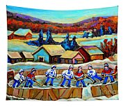 Montreal Memories Rink Hockey In The Country Hockey Our National Pastime Carole Spandau Paintings Tapestry