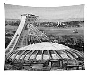 Montreal Olympic Stadium And Olympic Park-home To Biodome And Velodrome-montreal In Black And White Tapestry