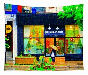 Montreal Rainy Day  Window Shopping Girl With Paisley Umbrella Spa Molinard Laurier  Carole Spandau Tapestry