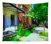 Montreal Stairs Shady Streets Winding Staircases In Balconville Art Of Verdun Scenes Carole Spandau Tapestry