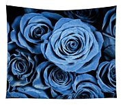 Moody Blue Rose Bouquet Tapestry