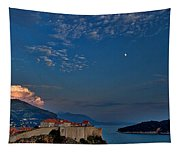 Moon Over Dubrovnik's Walls Tapestry