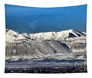 Moon Over The Snow Covered Mountains Tapestry