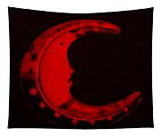 Moon Phase In Blood Red Tapestry