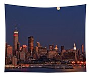 Moon Rise Over Manhattan Tapestry