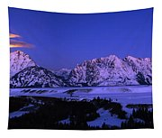 Moon Sets Over Behind The Tetons Panorama Tapestry