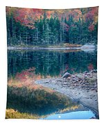 Moon Setting Fall Foliage Reflection Tapestry