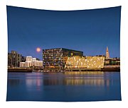 Moonlight Over Reykjavik Harbor Tapestry