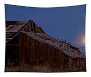 Moonrise Over Decrepit Barn Tapestry
