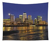 Moonrise Over River Thames Flowing Past Canary Wharf Tapestry