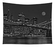 Moonrise Over The Brooklyn Bridge Bw Tapestry