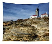 Morning At Beavertail Lighthouse Tapestry