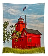 Morning At The Big Red Lighthouse Tapestry