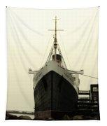 Morning Fog Queen Mary Ocean Liner Bow 02 Long Beach Ca Tapestry