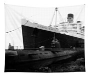 Morning Fog Russian Sub And Queen Mary 01 Bw Tapestry