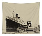 Morning Fog Russian Sub And Queen Mary Heirloom Tapestry