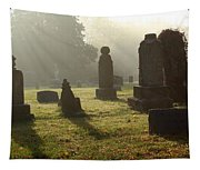 Morning Mist At The Cemetery Tapestry