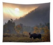 Morning Moose Tapestry
