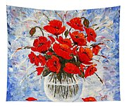 Morning Red Poppies Original Palette Knife Painting Tapestry
